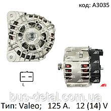 Генератор на Opel Vivaro 2.5 CDTi, Опель Віваро 2.5 цдти (дизель). 125 Ампер. A3035 (AS-PL)