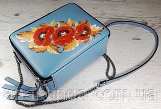 64-р Натуральная кожа, Сумка кросс-боди, голубая сумка с ручной росписью, кожаная сумка с росписью вручную , фото 3
