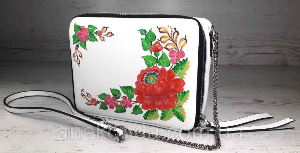 66-р Натуральная кожа, Сумка кросс-боди, белая сумка с ручной росписью, кожаная сумка с росписью вручную