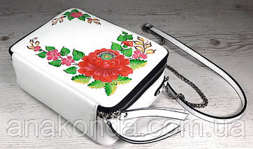 66-ц Натуральная кожа, Сумка кросс-боди, белая сумка с ручной росписью, кожаная сумка с росписью вручную, фото 2