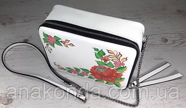 66-р Натуральная кожа, Сумка кросс-боди, белая сумка с ручной росписью, кожаная сумка с росписью вручную, фото 3