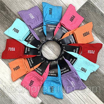 Носки женские х/б спортивные демисезонные Puma, Woman Sport Socks, цветное ассорти, средние, 10002
