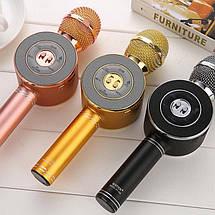 Акція! Bluetooth мікрофон-караоке WS-668 з світломузикою, слотом USB, FM тюнером рожевий, фото 3