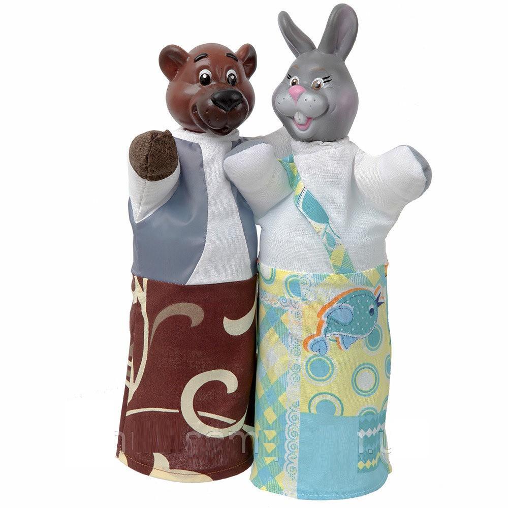 Куклы - перчатки Медведь  и Заяц  для кукольного театра