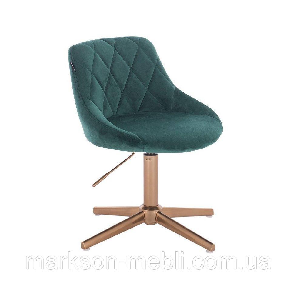 Парикмахерское  кресло HROVE FORM HR1054 CROSS бутылочный велюр крестовина золото