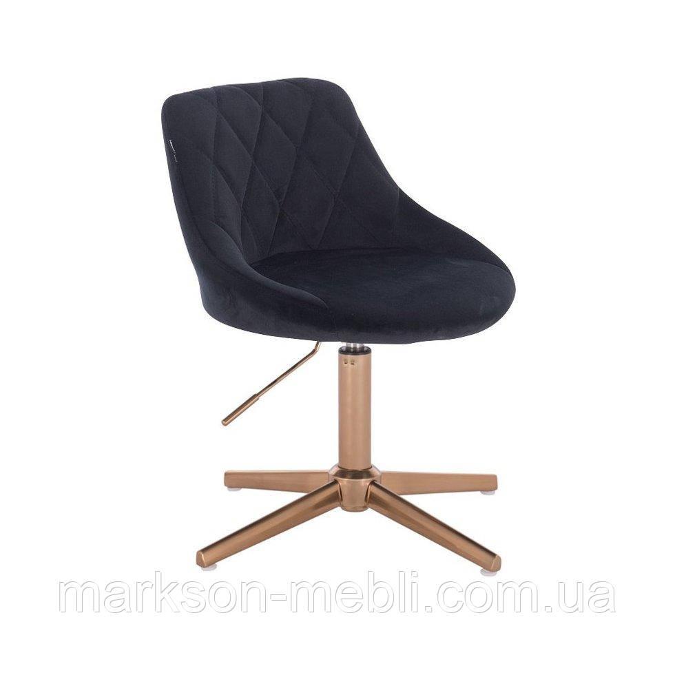 Парикмахерское  кресло HROVE FORM HR1054K CROSS черный велюр крестовина золото