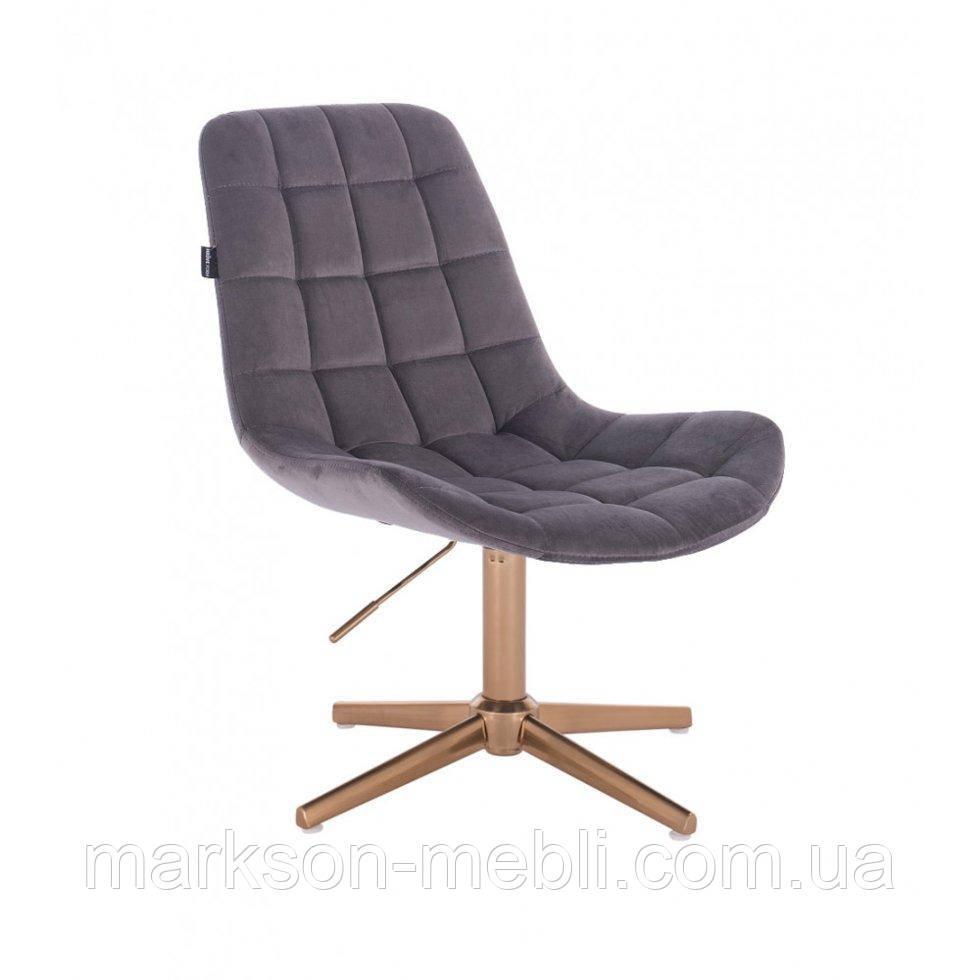 Парикмахерское  кресло HROVE FORM HR590CROSS графитовый велюр база золото