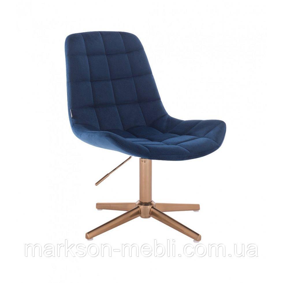 Парикмахерское  кресло HROVE FORM HR590CROSS синий велюр база золото
