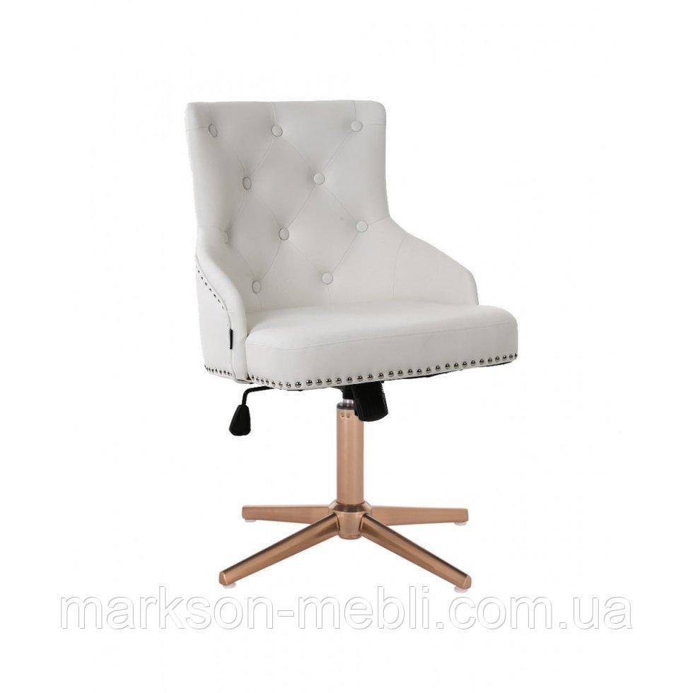Парикмахерское  кресло HROVE FORM HR654CROSS белый кожзам с пуговицами крестовина золото