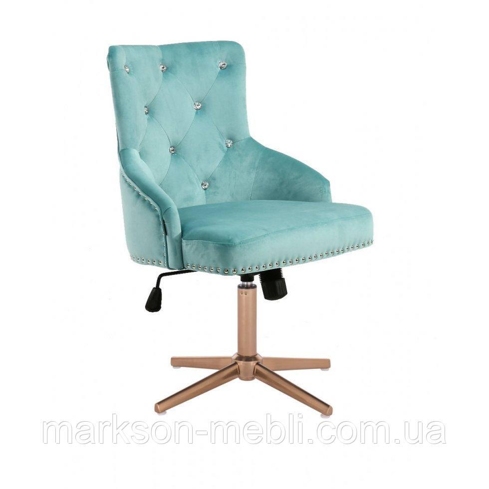 Парикмахерское  кресло HROVE FORM HR654CROSS бирюзовый велюр со стразами крестовина золото