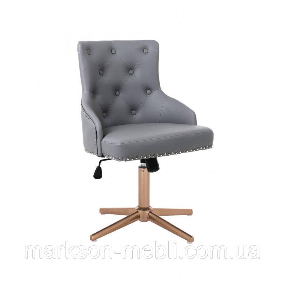 Парикмахерское  кресло HROVE FORM HR654CROSS серый кожзам с пуговицами крестовина золото