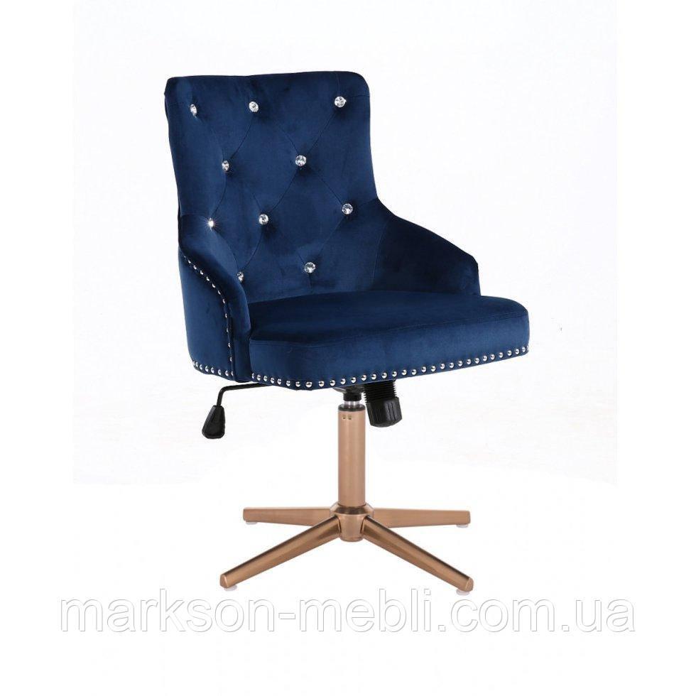 Парикмахерское  кресло HROVE FORM HR654CROSS синий велюр со стразами крестовина золото