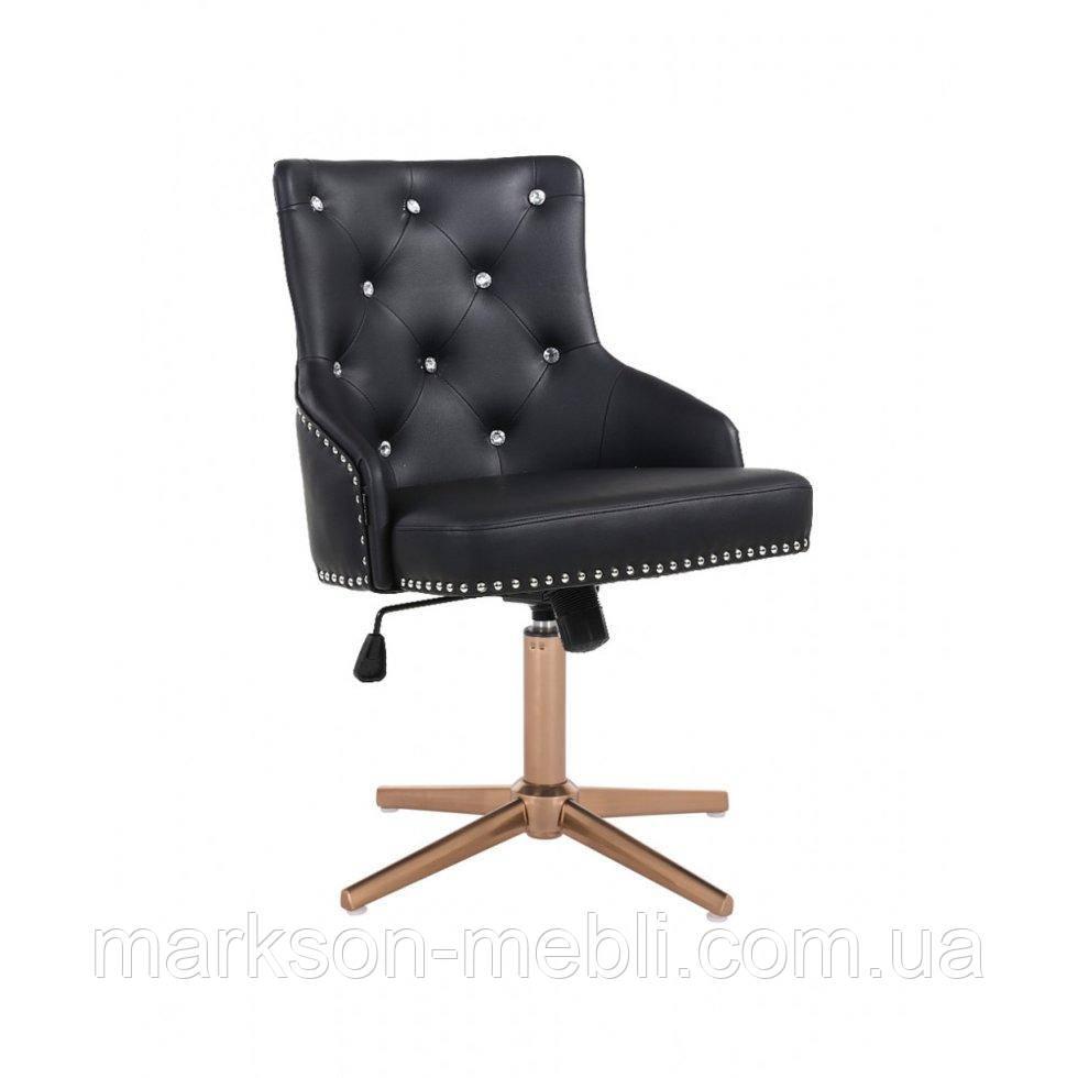 Парикмахерское  кресло HROVE FORM HR654CROSS черный кожзам со стразами крестовина золото