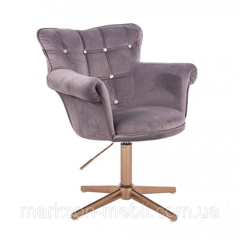 Парикмахерское  кресло HROVE FORM HR804C CROSS графитовый велюр крестовина золото