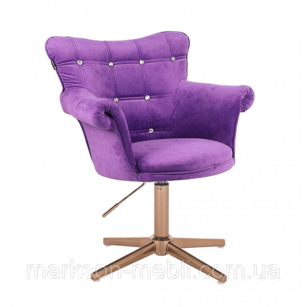 Парикмахерское  кресло HROVE FORM HR804C CROSS фиолетовый велюр крестовина золото