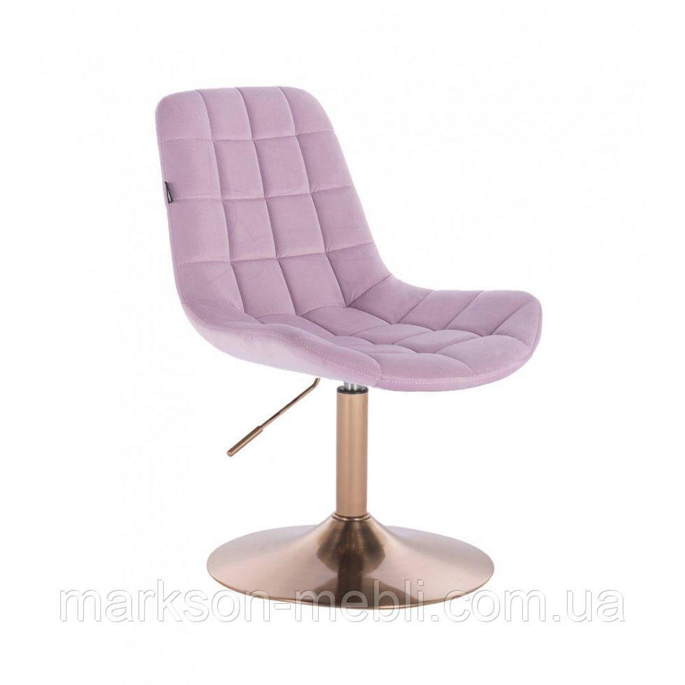 Парикмахерское кресло HR590N вереск велюр основа золото