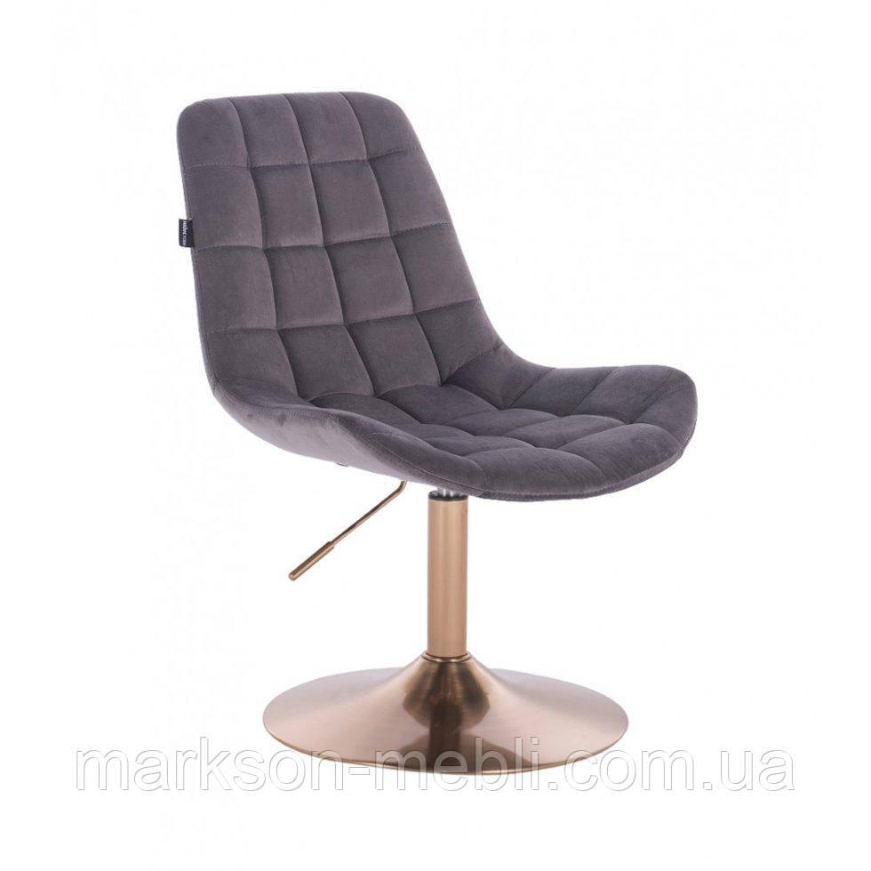 Парикмахерское кресло HR590N графитовый велюр основа золото