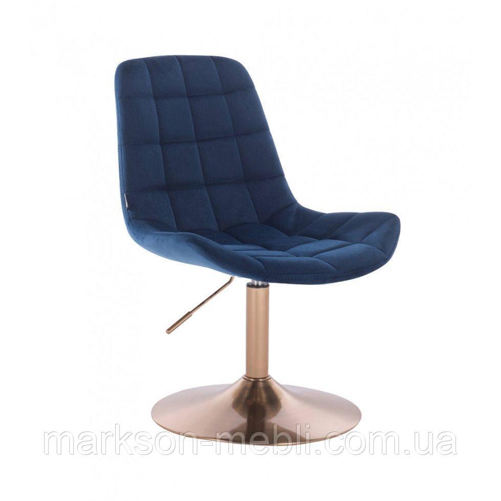 Парикмахерское кресло HR590N синий велюр основа золото