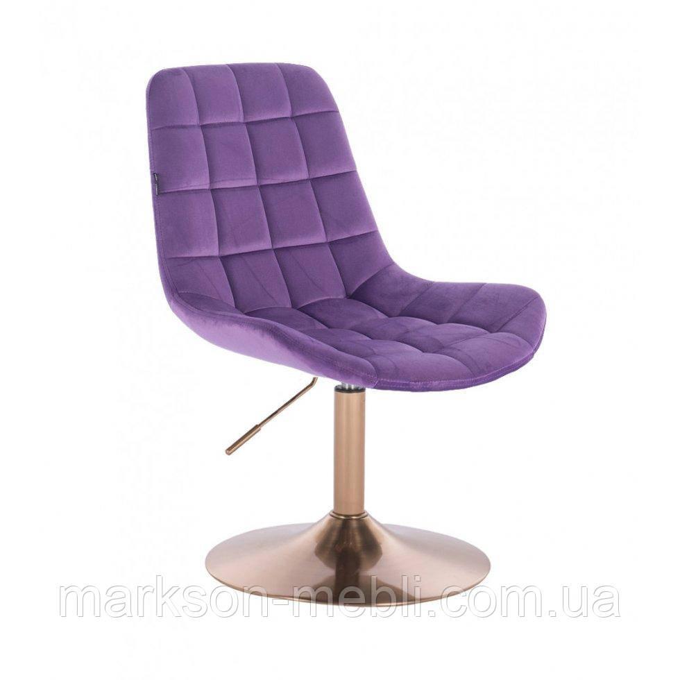 Парикмахерское кресло HR590N фиолетовый велюр основа золото