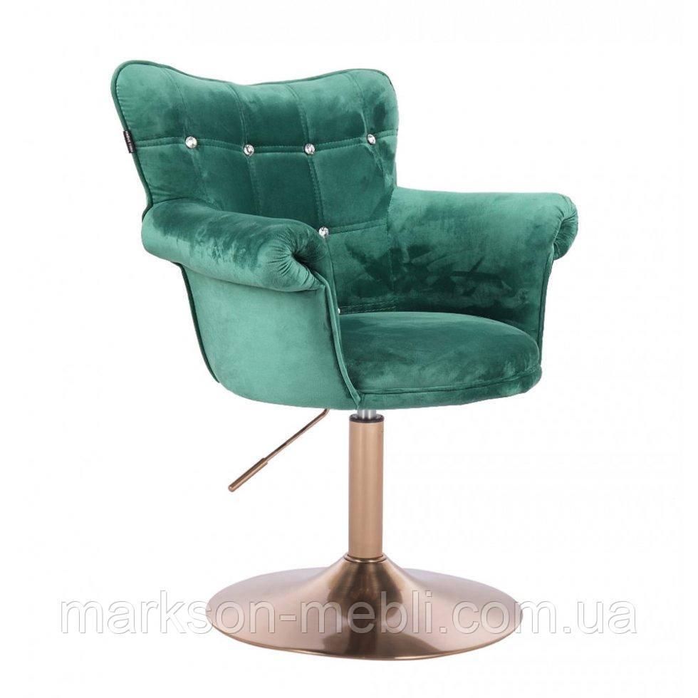 Парикмахерское кресло HR804C бутылочный велюр золотая основа