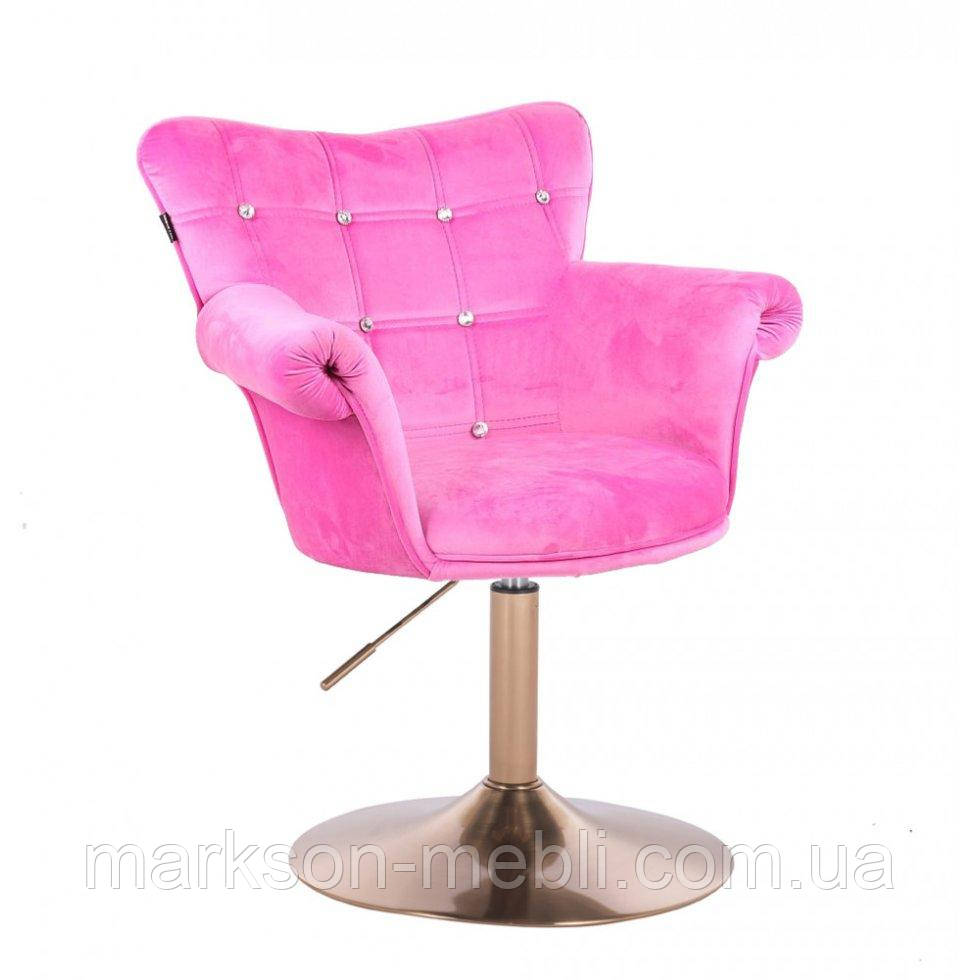 Парикмахерское кресло HR804C розовый велюр золотая основа
