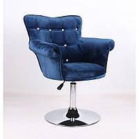 Парикмахерское кресло HR804C синий велюр, фото 1