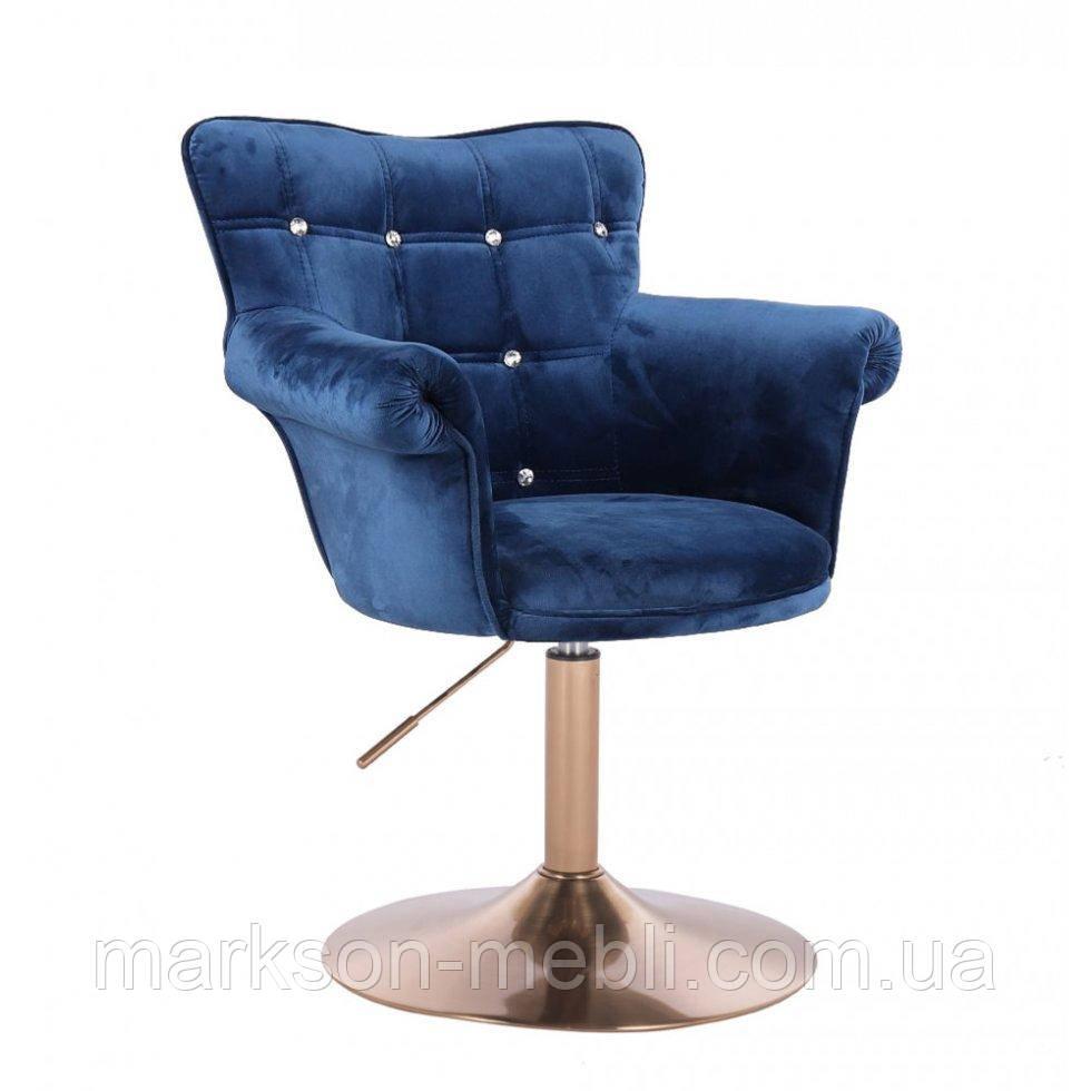 Парикмахерское кресло HR804C синий велюр золотая основа