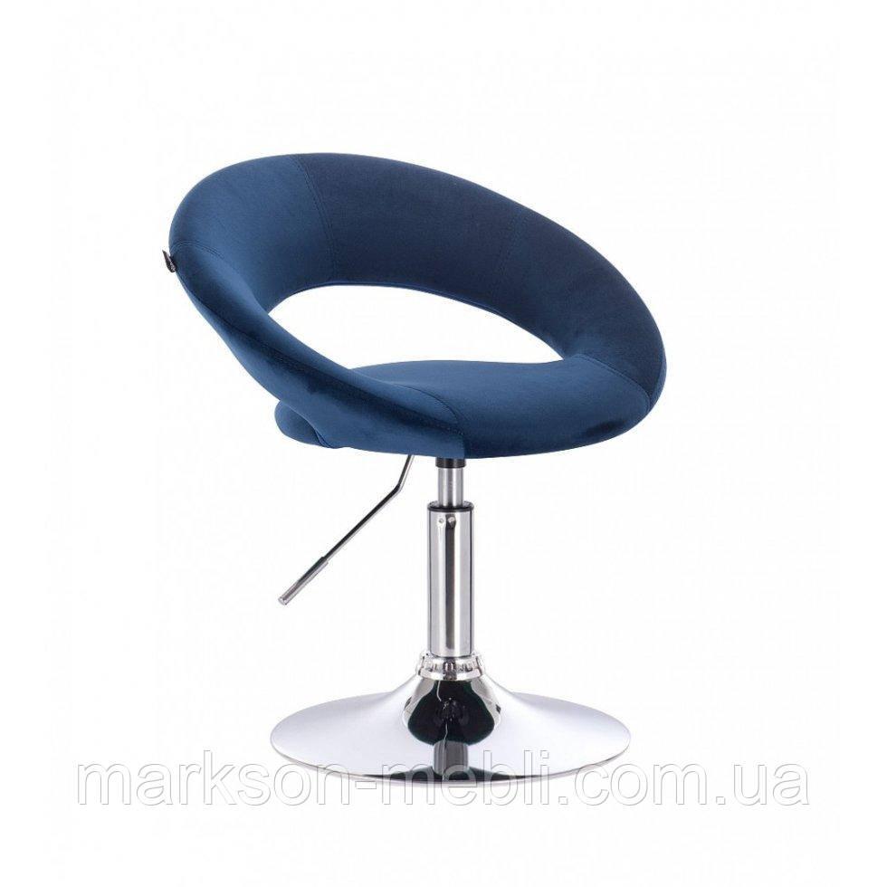 Парикмахерское кресло HROVE FORM HR104 синий велюр