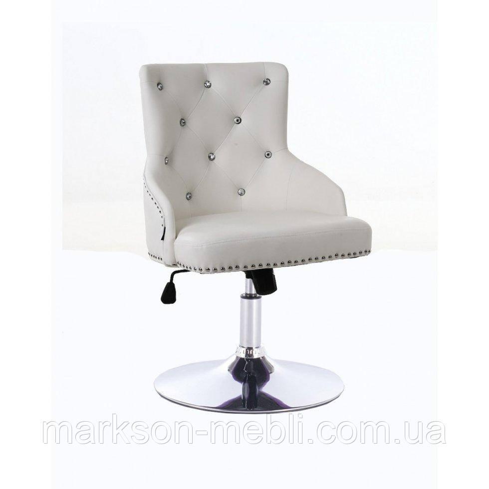 Парикмахерское кресло HROVE FORM HR654CN белый кожзам со стразами