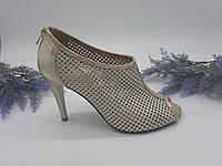 Босоножки на каблуке Gulio Santoro золото 1403 кожа 35(р)
