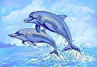 """Ткань с рисунком для вышивания бисером """"Дельфины"""""""