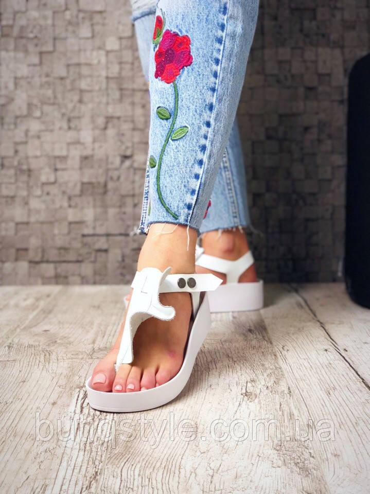 36 размер Белые женские босоножки на платформе натуральная кожа лето 2019