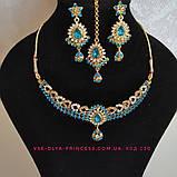 Індійський комплект кольє, тика, сережки до сарі під золото з рожевим камінням, фото 3