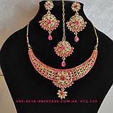 Индийский комплект колье, тика, серьги к сари под золото с розовыми камнями, фото 4