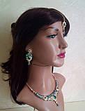 Індійський комплект кольє, тика, сережки до сарі під золото з рожевим камінням, фото 9