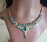 Індійський комплект кольє, тика, сережки до сарі під золото з рожевим камінням, фото 10