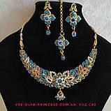 Індійський комплект кольє, тика, сережки до сарі під золото з бірюзовими камінням, фото 2