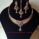 Індійський комплект кольє, тика, сережки до сарі під золото з бірюзовими камінням, фото 5