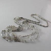 Бусы колье женские на шею с белыми камнями цвет серебро