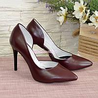 Женские кожаные бордовые туфли на шпильке
