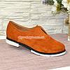 Женские рыжие замшевые туфли на утолщенной белой подошве., фото 2