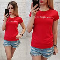Футболка женская летняя надпись Butterfly Dreams качество турция цвет красный, фото 1
