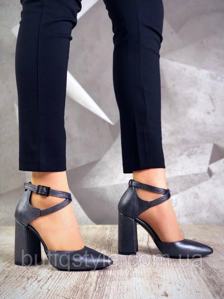 a494be4f6 39, 40 размер Элегантные женские туфли графит на каблуке натуральная кожа