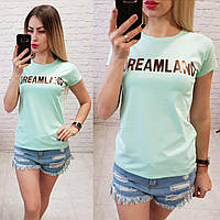 Футболка женская летняя надпись Dreamland качество турция цвет мятный, фото 1