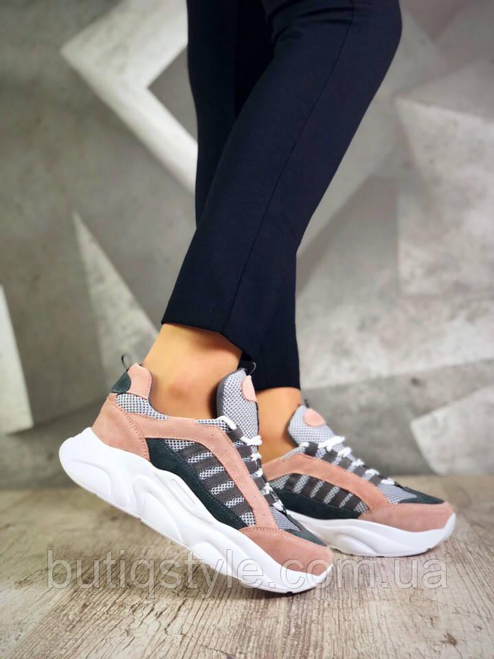 Женские кроссовкипудра+серый натуральная замша + обувной текстиль (сетка) 2019