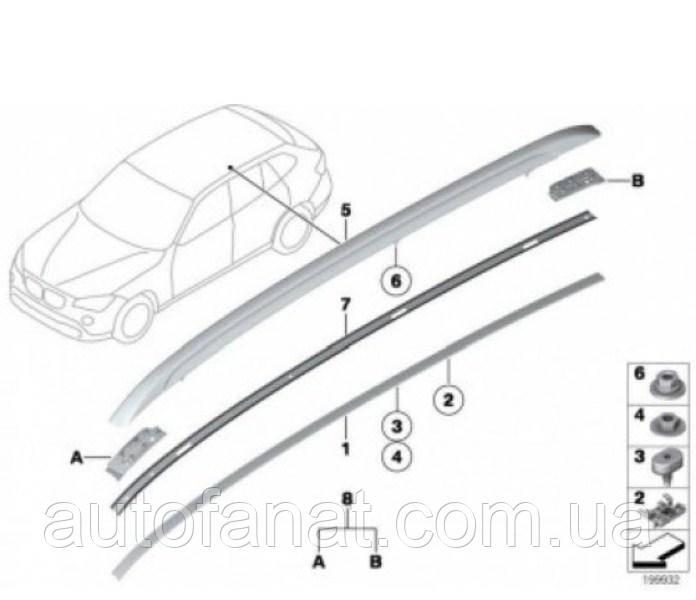 Оригинальный рейлинг на крышу правый серебристый BMW Х1 (E84) (51132990986)