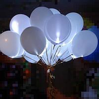 """Светящиеся шары с гелием """"Белый"""" 30 см"""