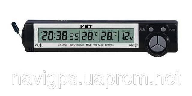 Часы VST-7043v с 2-мя датчиками температуры и вольтметром