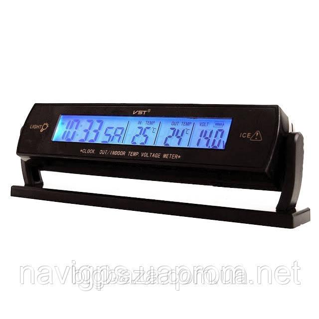 Часы VST-7013v с 2-мя датчиками температуры и вольтметром