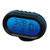 Часы VST-7009v с 2-мя датчиками температуры и вольтметром, меняется цвет экрана, фото 1